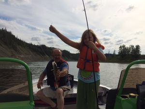 Don on a succesful fishing trip with his grand daughter